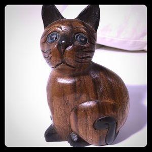 Vintage wooden carved cat
